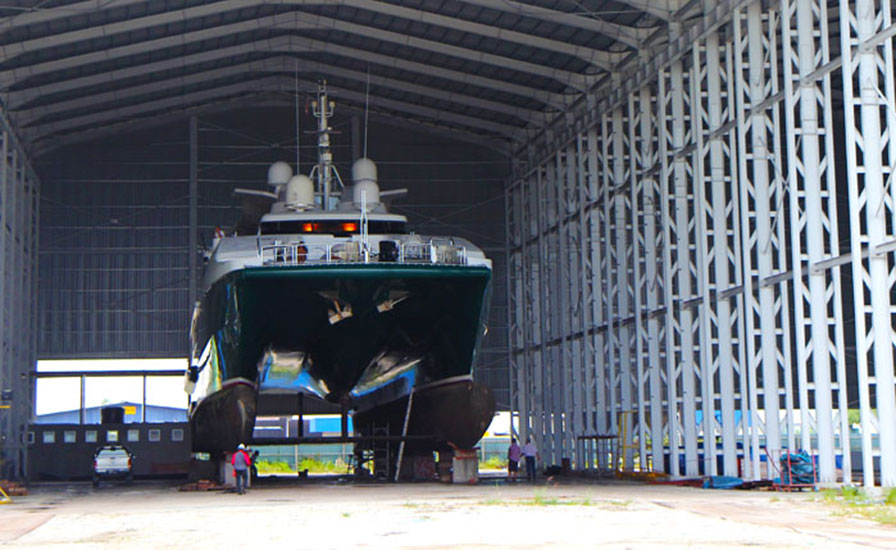 45 meter catamaran lifted